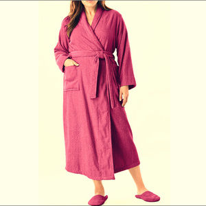 Woman Within Cotton Terry Robe & Slippers 5X wine